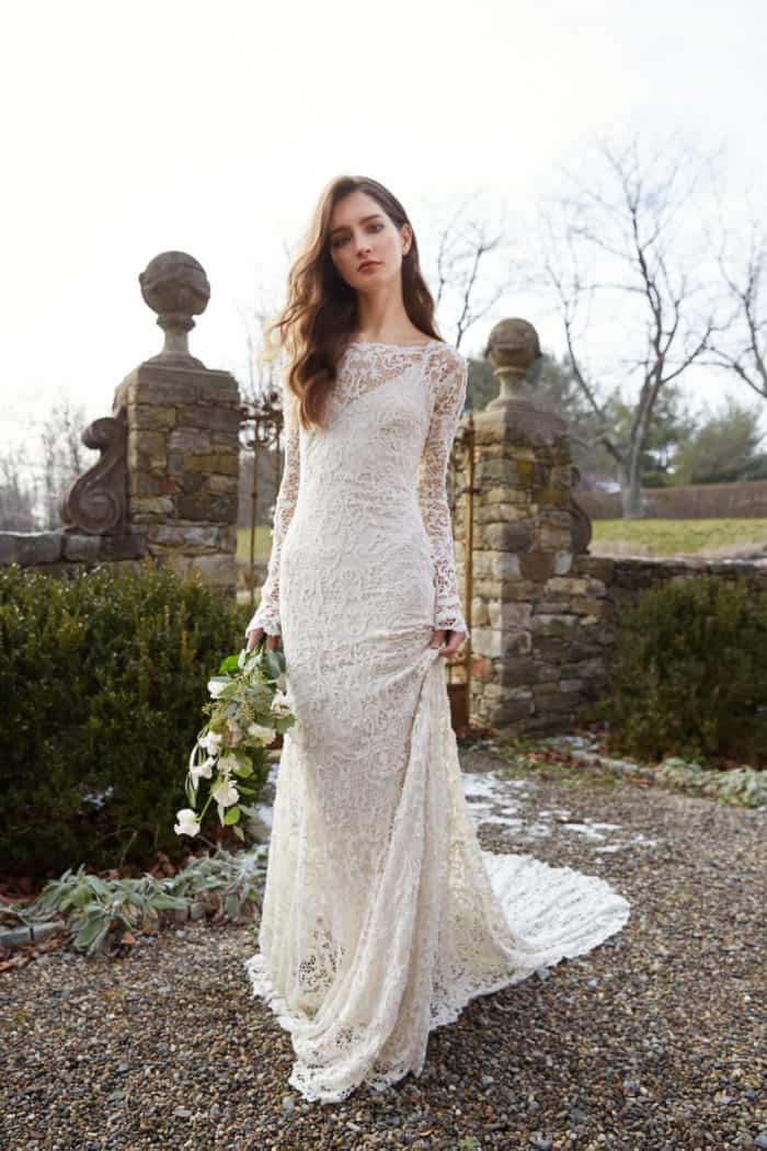 Long sleeve lace wedding dress by Jenny Yoo Ivana