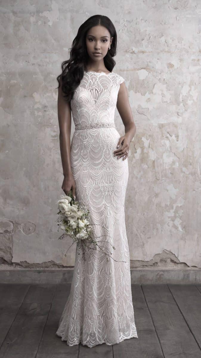 Madison James Cap sleeve lace sheath wedding dress 2018