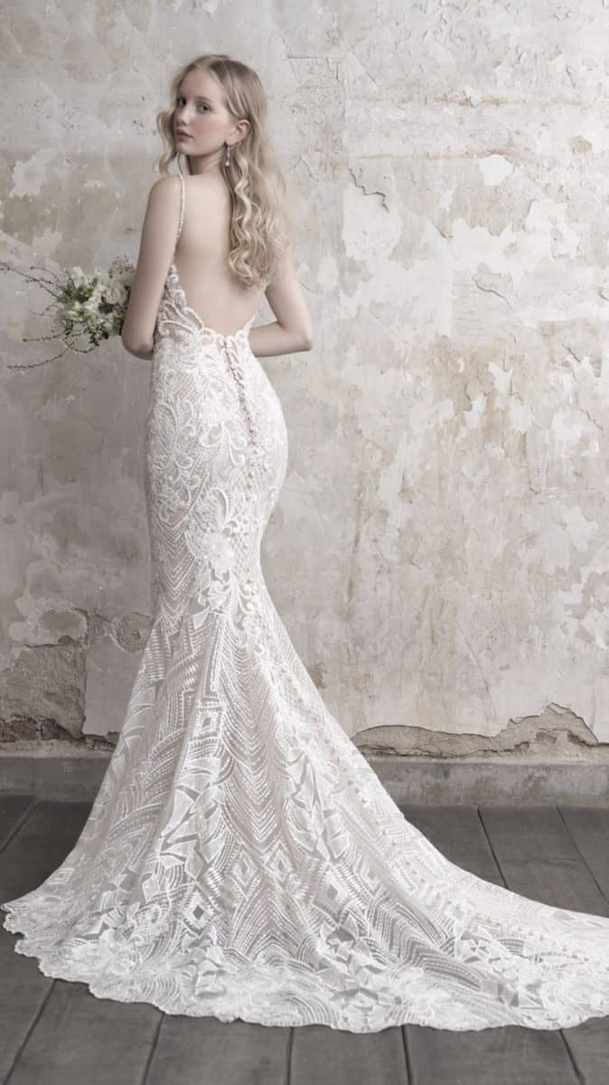 Open back beaded lace wedding dress with buttons up the back