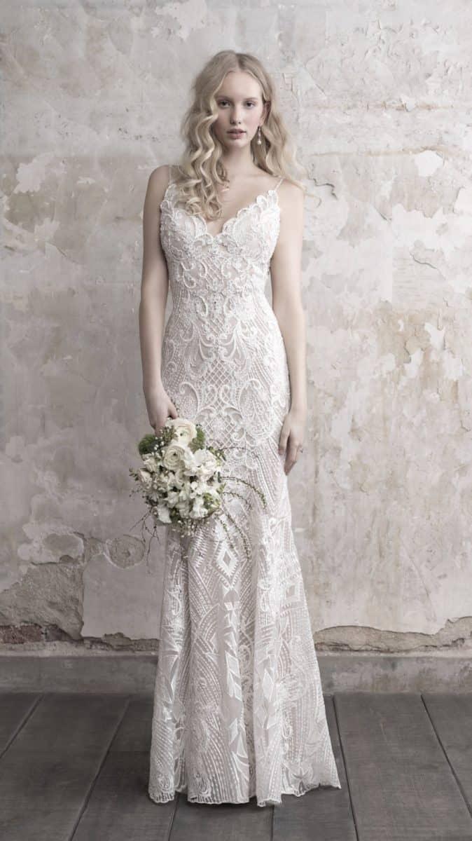 Beaded lace sheath wedding dress by Madison James