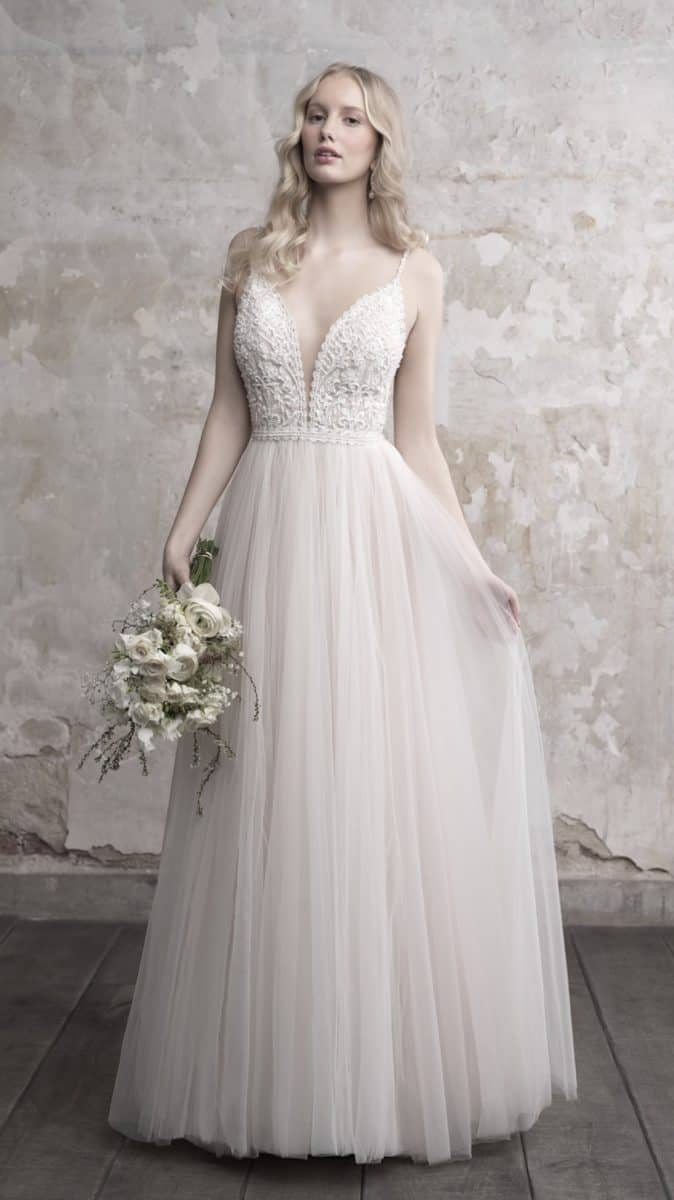 Tulle wedding dress with plunge neckline Madison James Style MJ456