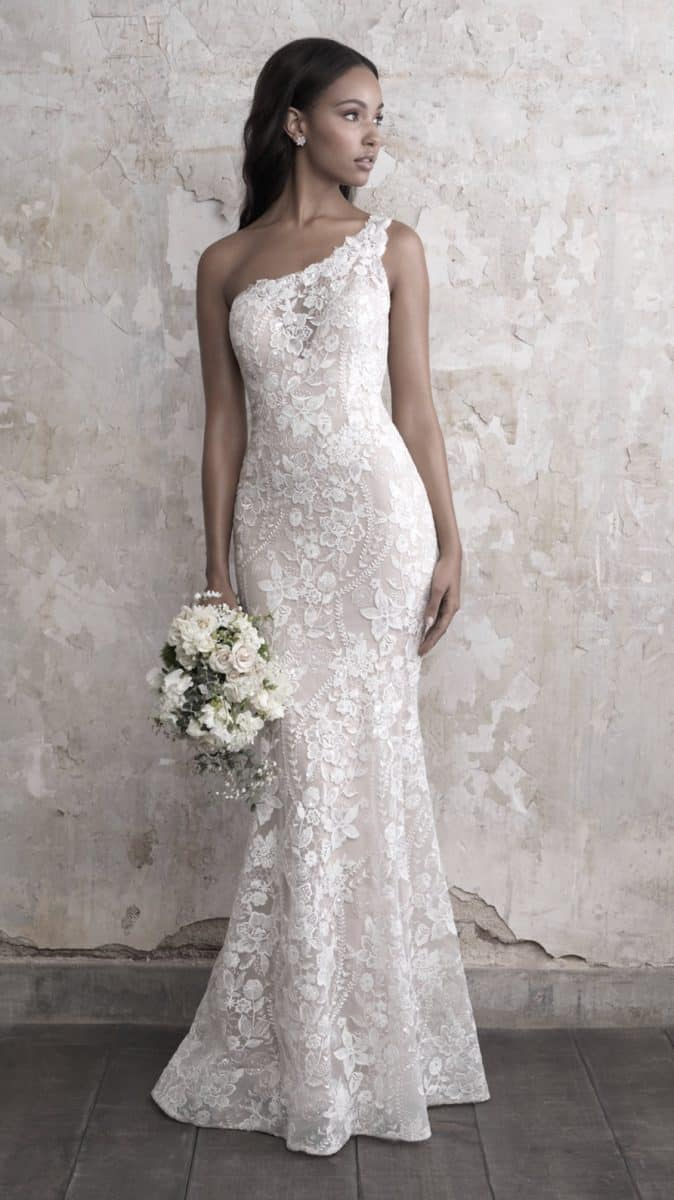 One shoulder lace wedding dress with applique