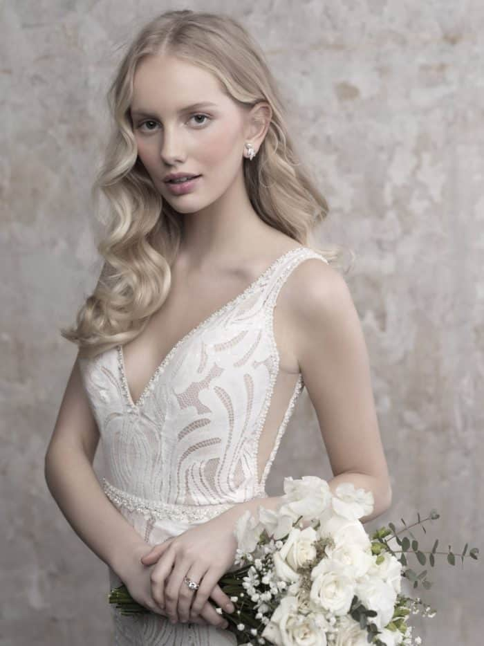 Modern lace wedding dress with sheer sides