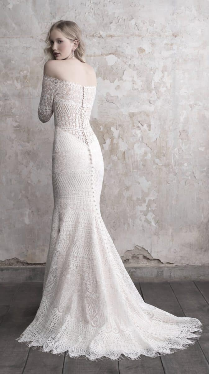 Off the shoulder lace wedding dress with illusion back Madison James Style MJ470