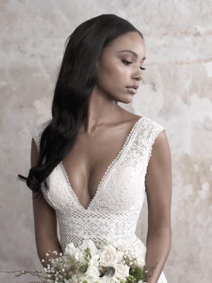 Madison James deep v neck lace wedding dress Fall 2018