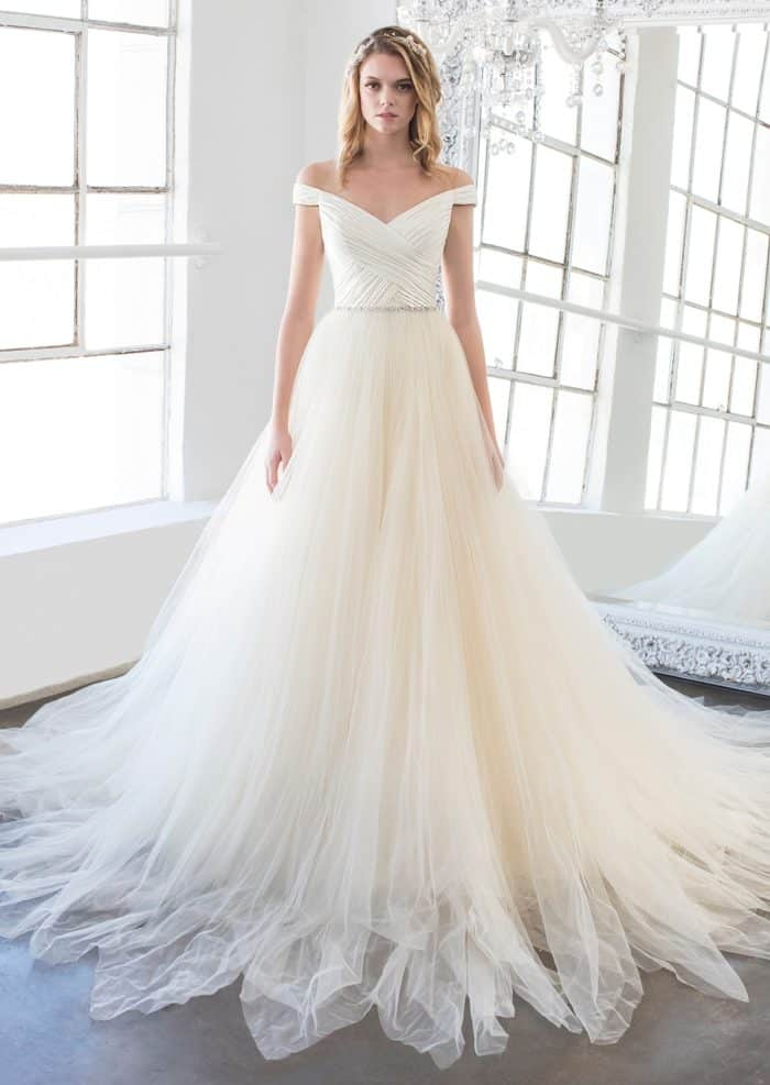 Off the shoulder bridal gown with tulle skirt Magnolia bridal gown
