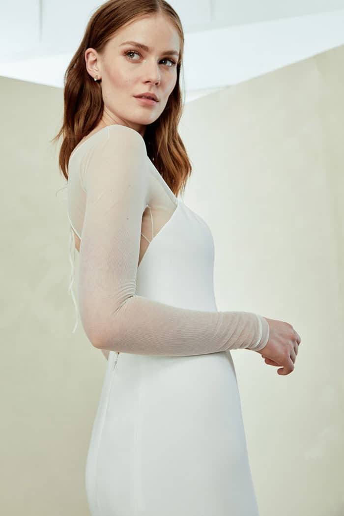 Minimalist long sleeve wedding gown Miri by Amsale