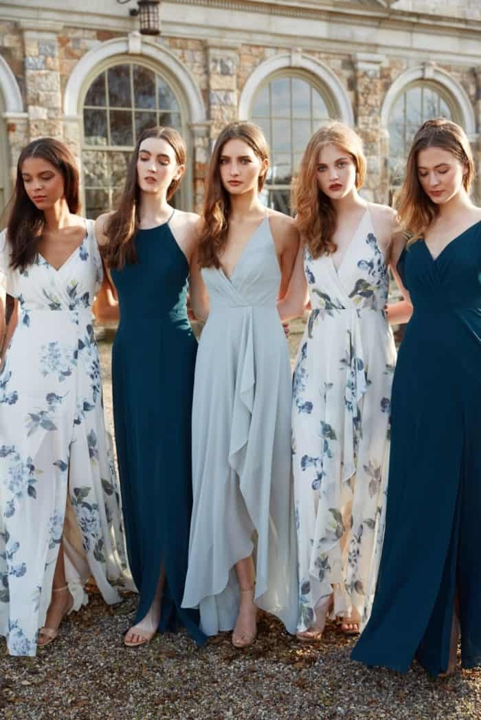 Blue green and floral print Jenny Yoo bridesmaid dresses