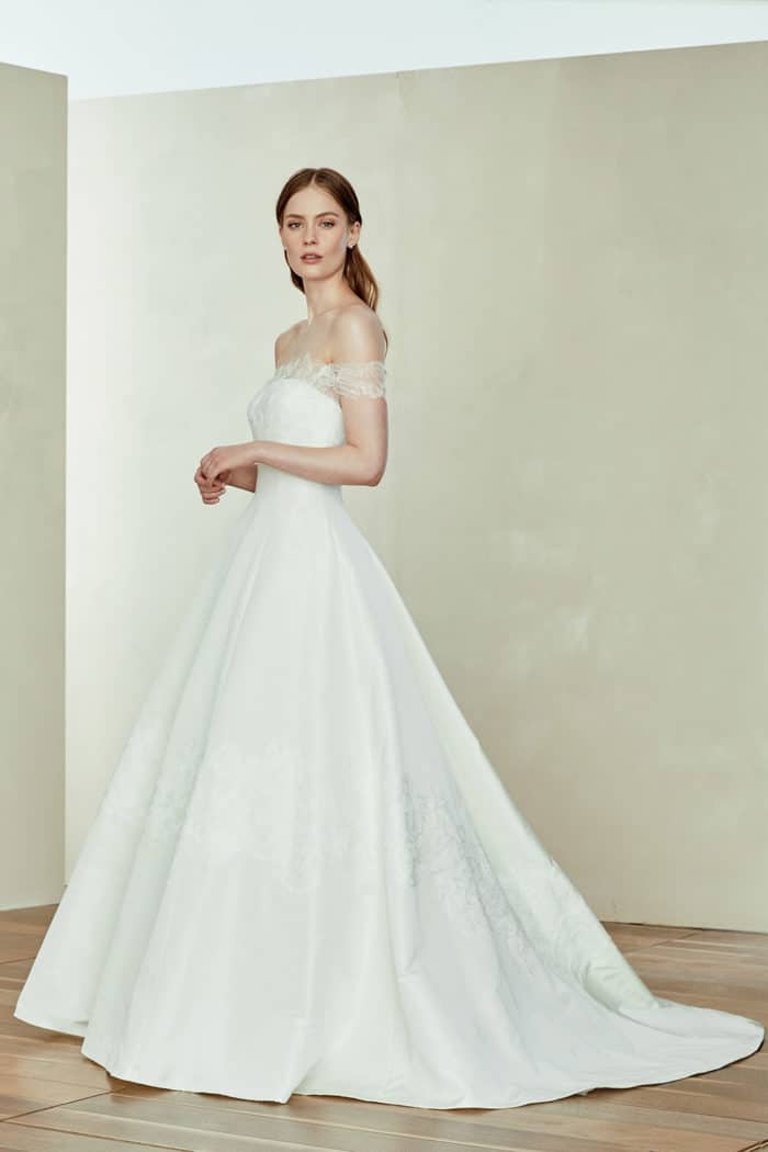 Silk ball gown wedding dress with off the shoulder lace