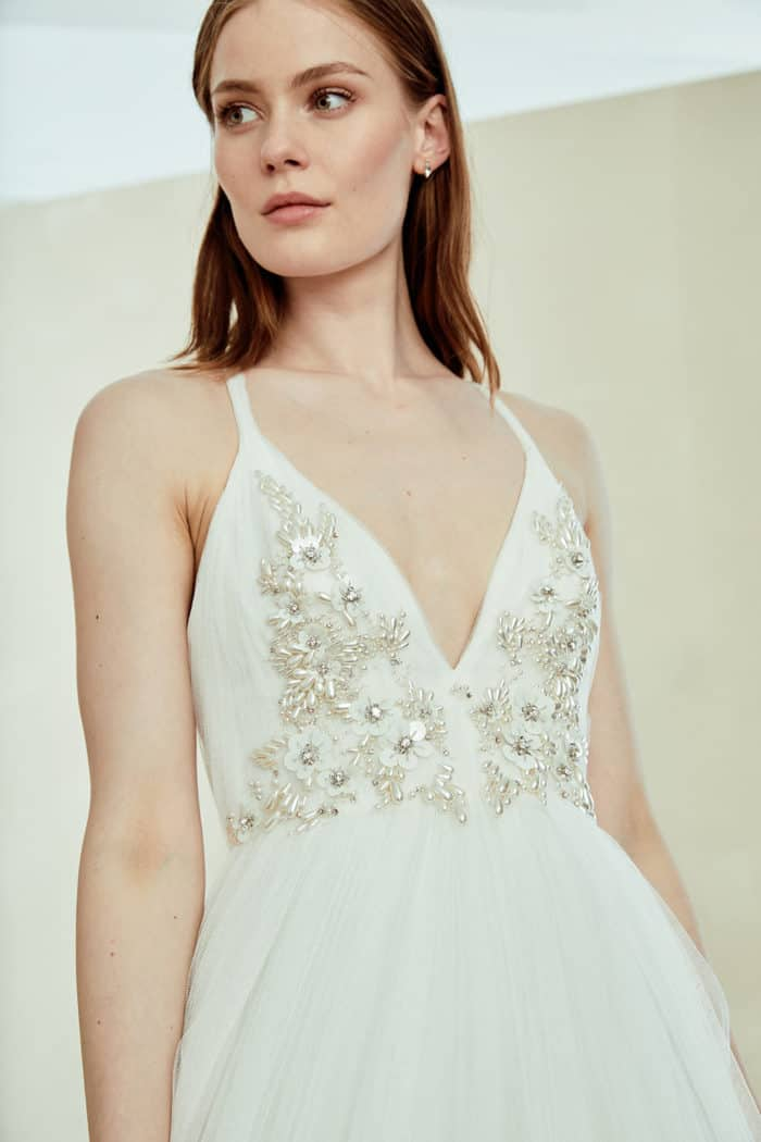 Wedding gown with deep v neck and delicate straps and embellishement | Terri by Amsale Bridal 2019