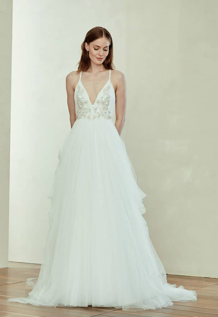 A soft tulle V neck wedding dress with embellished bodice | Terri by Amsale