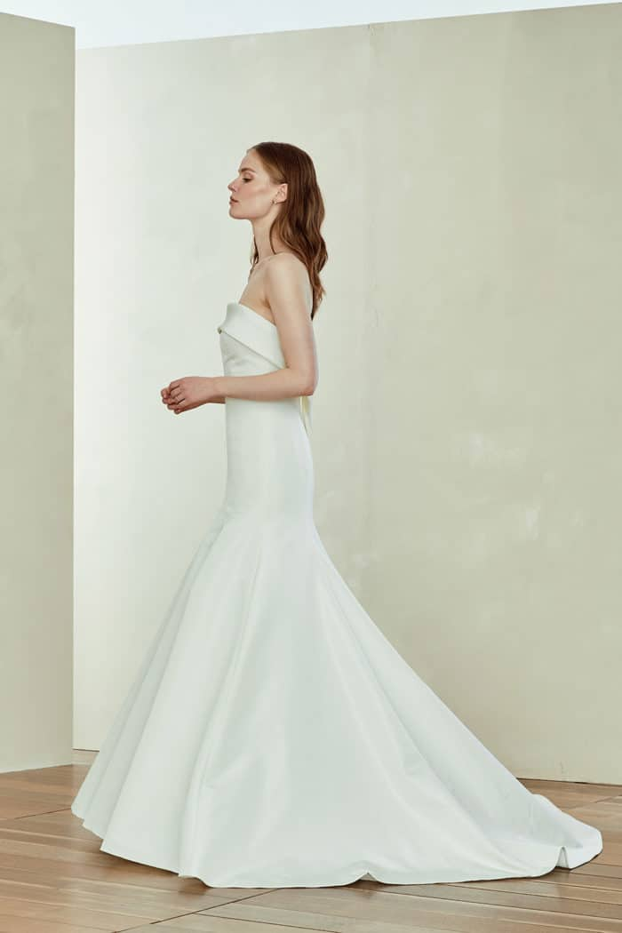 Thomson, a strapless silk wedding dress by Amsale
