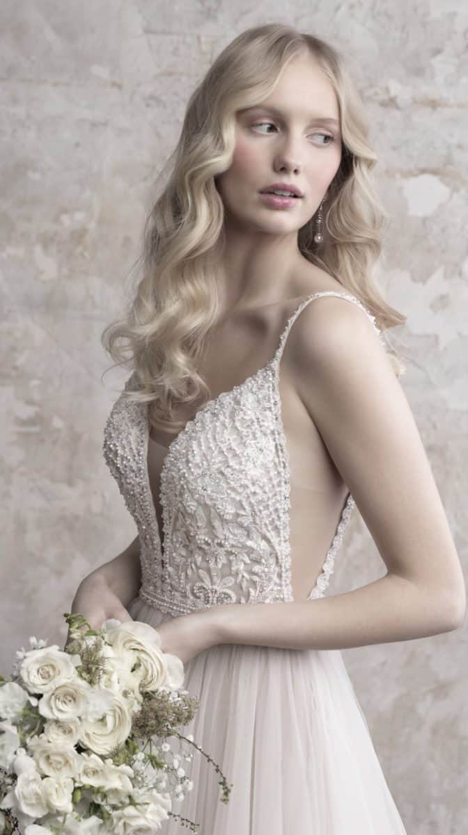 ulle wedding dress with spaghetti straps and side details