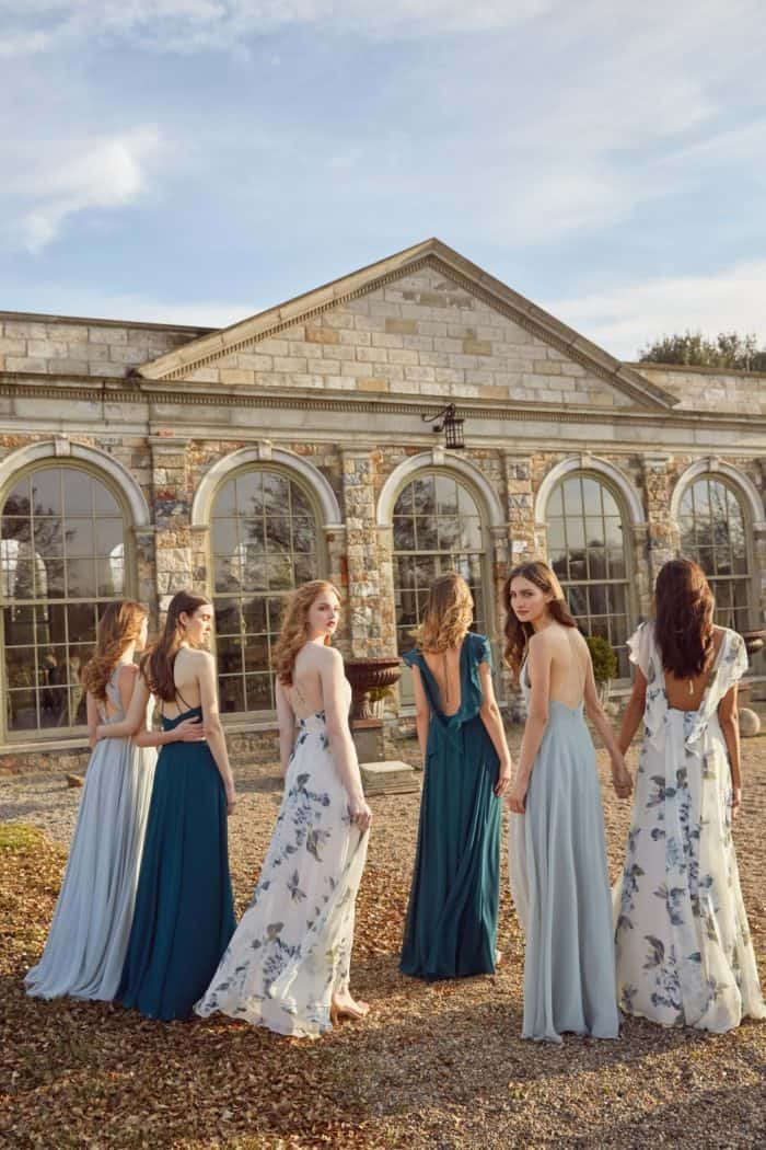 blue mismatched bridesmaid dresses