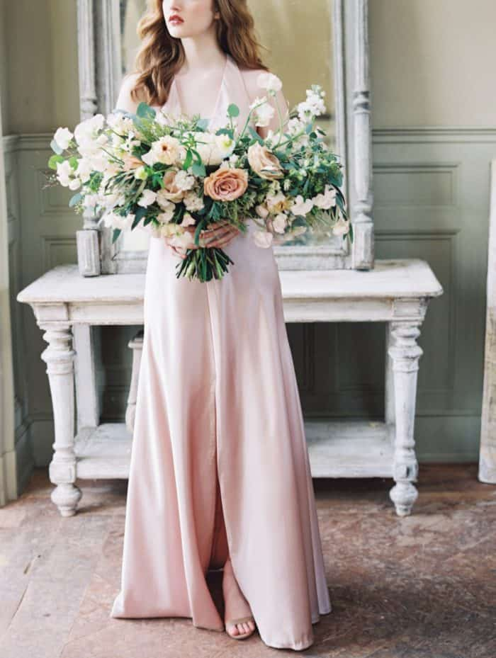 Satin blush bridesmaid dress
