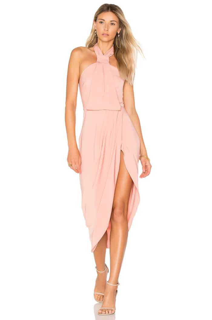 Dusty pink dress for August wedding guest