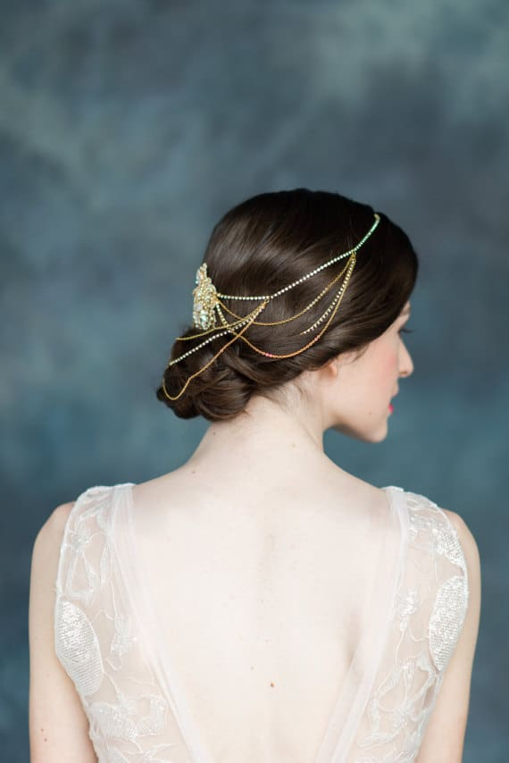 Golden hair chain for wedding by Blair Nadeau Bridal on Etsy