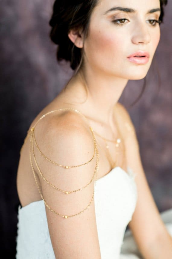 gold chain bridal shoulder jewelry by Blair Nadeau Bridal