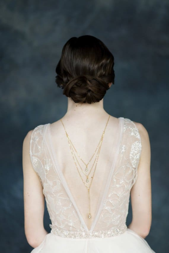 gold crystal back necklace for bride