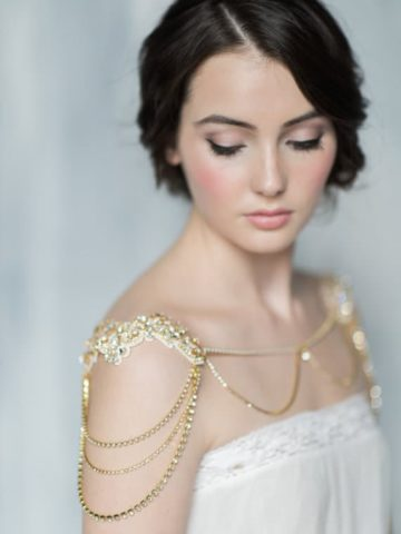 gold shoulder necklace for wedding dress by Blair Nadeau Bridal