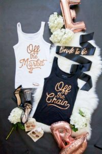 Bachelorette party tank tops in rose gold