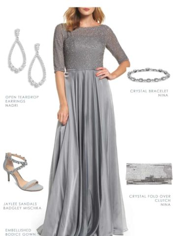 silver dress for the mother of the bride with sleeves