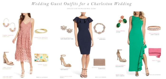 wedding guest outfits for a Charleston SC wedding by dress code