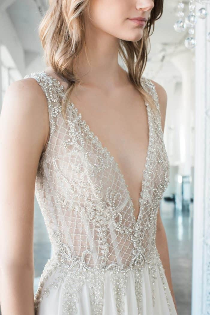 Beaded plunge neck wedding dress Adeline by Winnie Couture