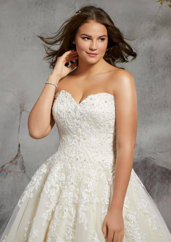 Plus size strapless beaded wedding dress | Style 3246 Julietta