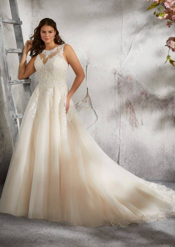 Lace illusion neck and back plus size wedding gown | Julietta by Morilee