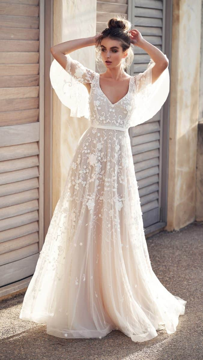 Flutter sleeve sheer wedding gown with beading and pearl detail | Amelie by Anna Campbell Wanderlust