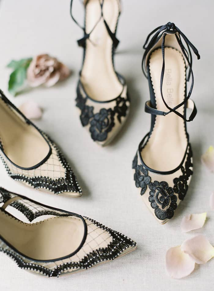 Black lace mesh wedding shoes | Bella Belle Shoes