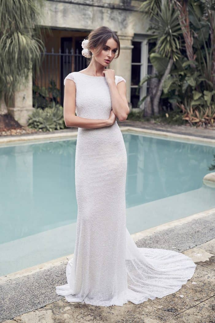 White sequin cap sleeve wedding dress | Blair by Anna Campbell