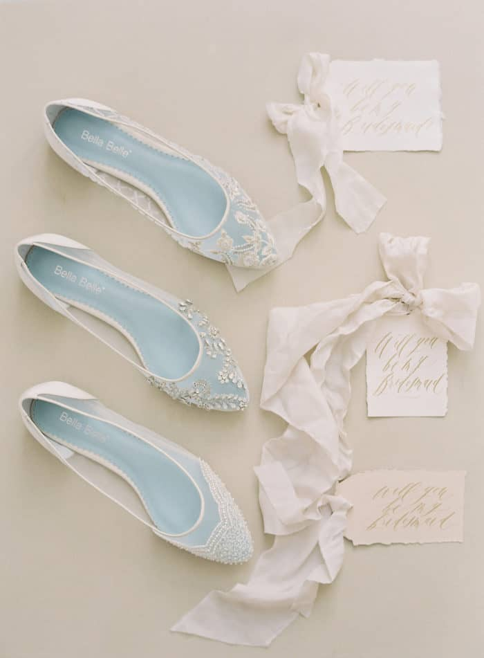 Bridal lace flats by Bella Belle