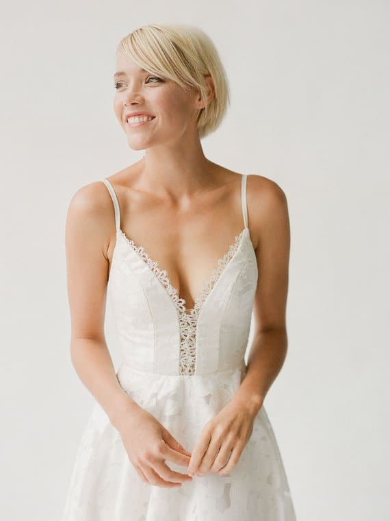 Detail of lace spaghetti strap simple wedding dress Meredith by Truvelle