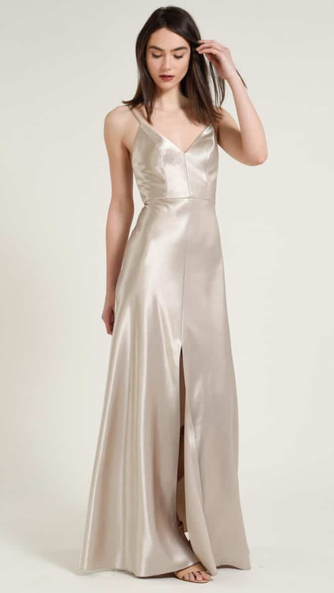 Satin champagne bridesmaid dresses by Jenny Yoo