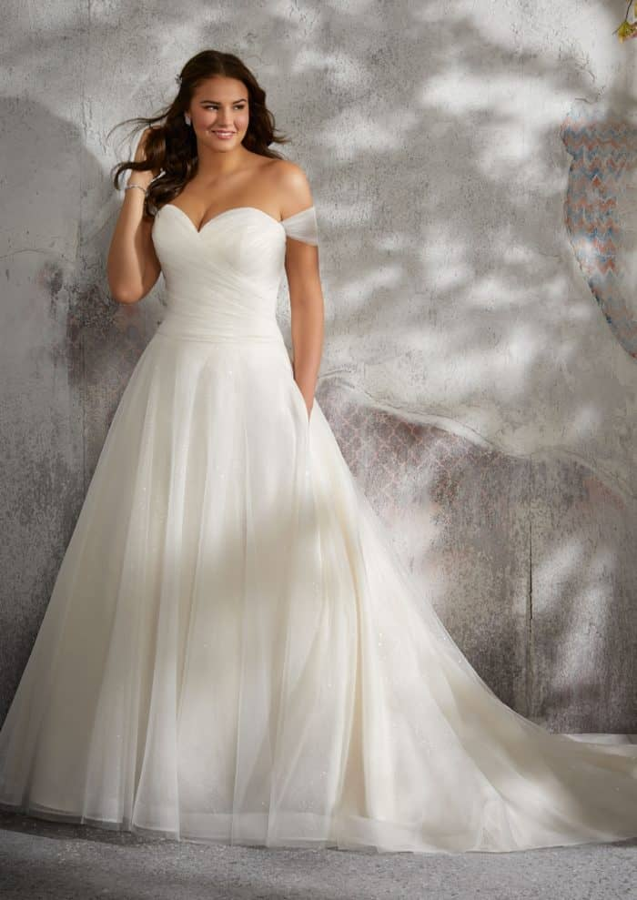 Lyla by Julietta | Tulle off the shoulder ballgown wedding dress