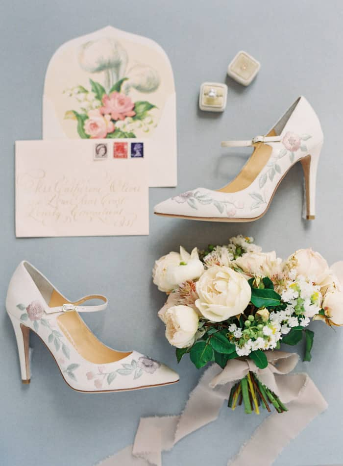 Embellished strap wedding heels