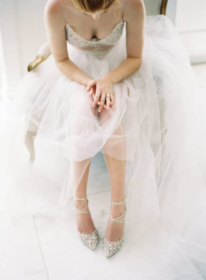 Bella Belle Embellished wedding shoes with ankle ties