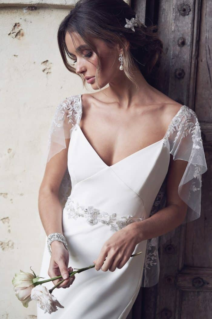 Embellished sleeve wedding dress | Eva Dress Anna Campbell