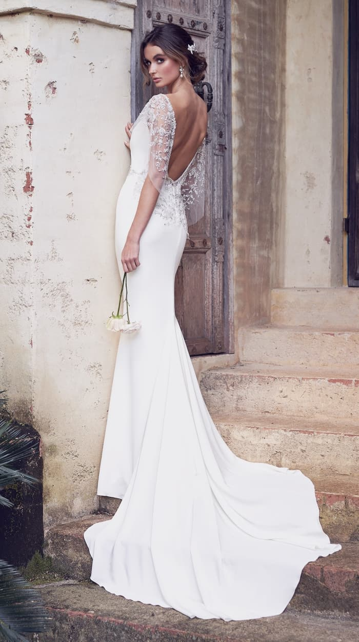 Low embellished back wedding dress | Eva by Anna Campbell