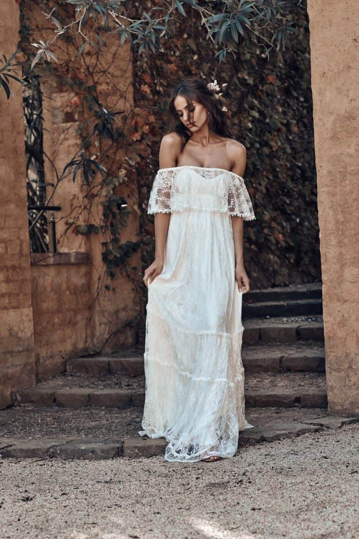 Off the Shoulder Lace wedding dress | Franca