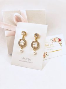 Gold and crystal bridesmaid earrings from Soft and Kind on Etsy