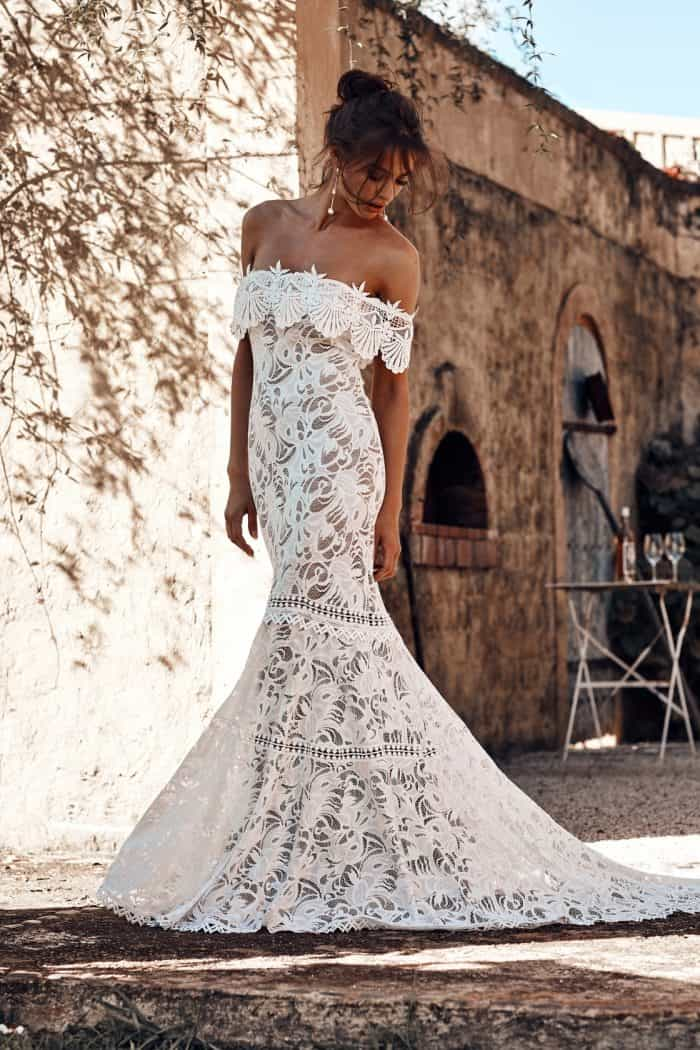 Cien, a lace off the shoulder gown Ciel