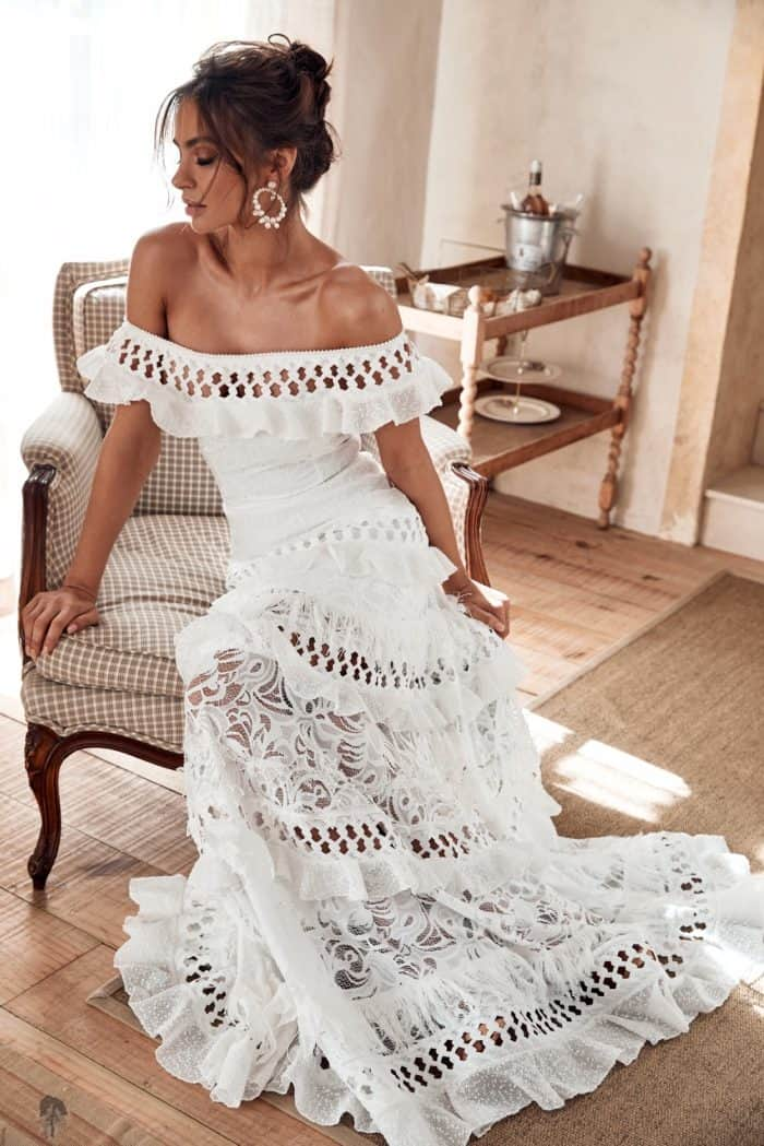 Coco, an off-the-shoulder lace wedding dress Grace Loves Lace