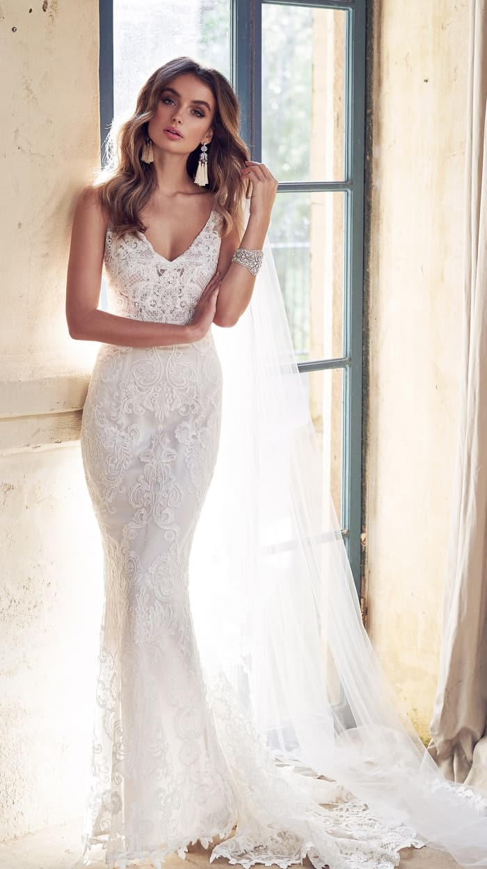 Sheer lace wedding dress | Harlow Dress Anna Campbell