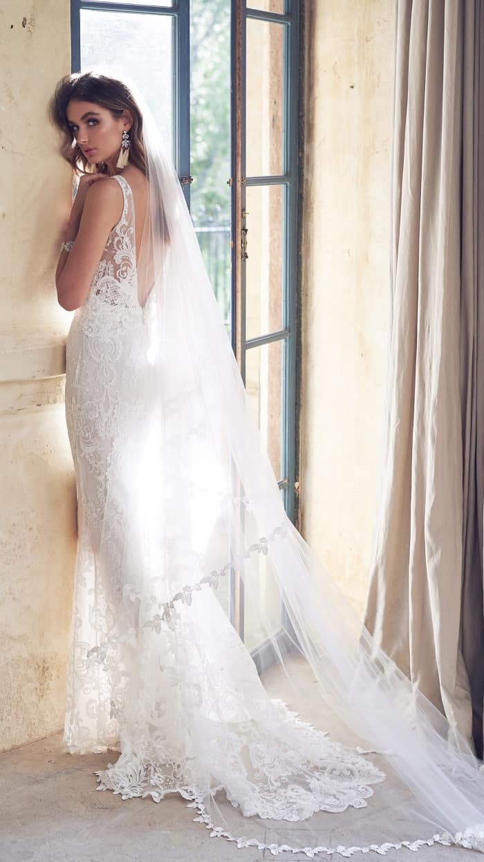 Open back sheer lace wedding dress