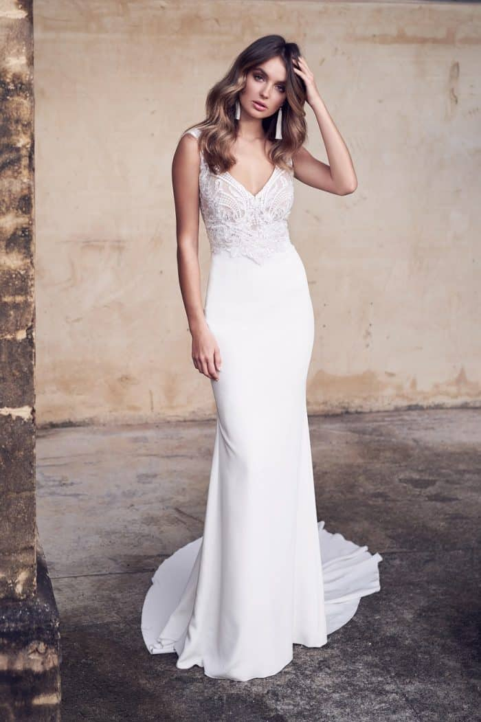 V neck wedding gown with Crepe de chine Jamie dress by Anna Campbell