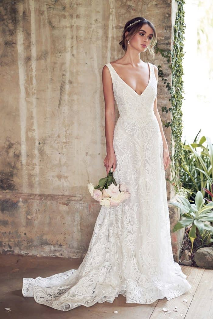 All over lace wedding dress | Jamie with Empress lace by Anna Campbell Bridal