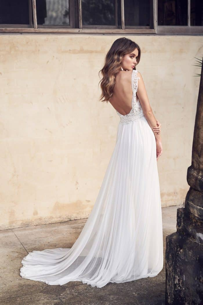 Low back wedding dress with silk skirt by Anna Campbell